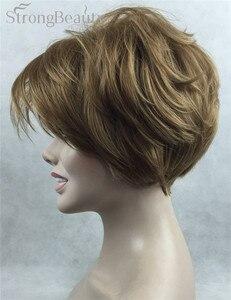 Image 2 - Güçlü Güzellik Sentetik Peruk Kadın Kısa Düz Peruk Kesim Saç Kadın Saç Seçmek Için Birçok Renk