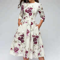 Women Elegant Formal Dress A-line Vintage Printing Floral Cropped Sleeve Round Neck Dress Party Vestidos Dress Vestidos Mujer