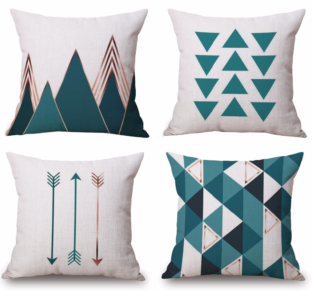 Throw Pillow Covers Triangle Geometric Pillow Case Square Cotton Pillow Case 18x18 inch