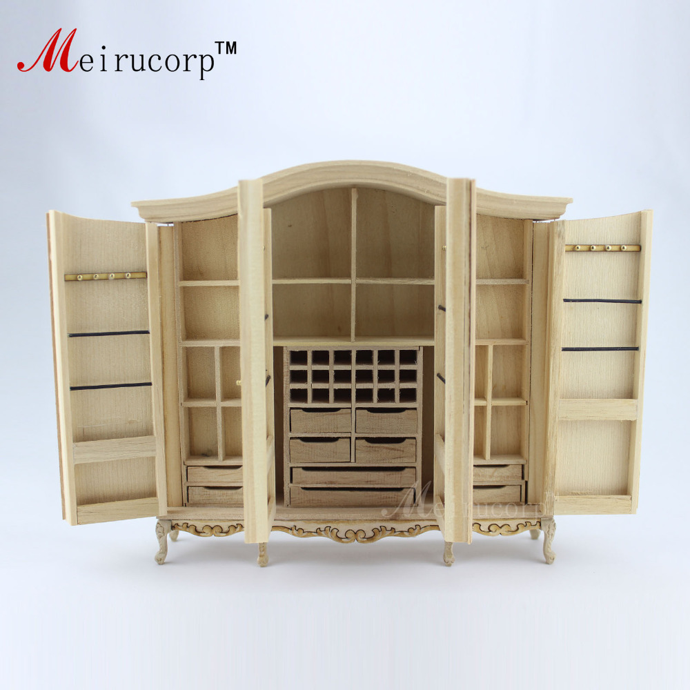 Dollhouse 1 12 scale Miniature furniture Unpainted Handmade four door wardrobe 10490