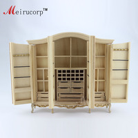 Dollhouse 1:12 scale Miniature furniture Unpainted Handmade four door wardrobe 10490