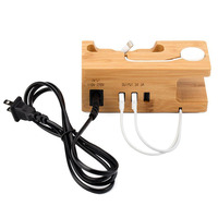 Stand For Apple Watch Docking Charging Station Organizer With Power Adapter Desktop Bamboo Wood 3 Port