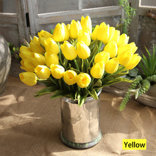 VSN PU Tulips Artificial Flower Home Wedding Decoration Bouquet Bridal 1/5 Pc Flower Artificial Tulips Flower Marriage Decor D20
