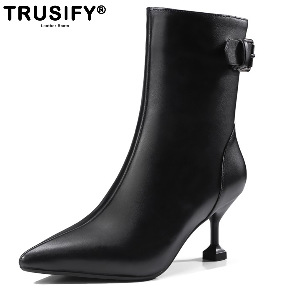 TRUSIFY 2017 Ohappropriate Cow Leather Mid Calf Zip Pointed Toe High Thin Heels Solid Buckle Fashion Womens Boots With Heels trusify 2017 ohappropriate cow leather mid calf zip pointed toe high thin heels solid buckle fashion womens boots with heels