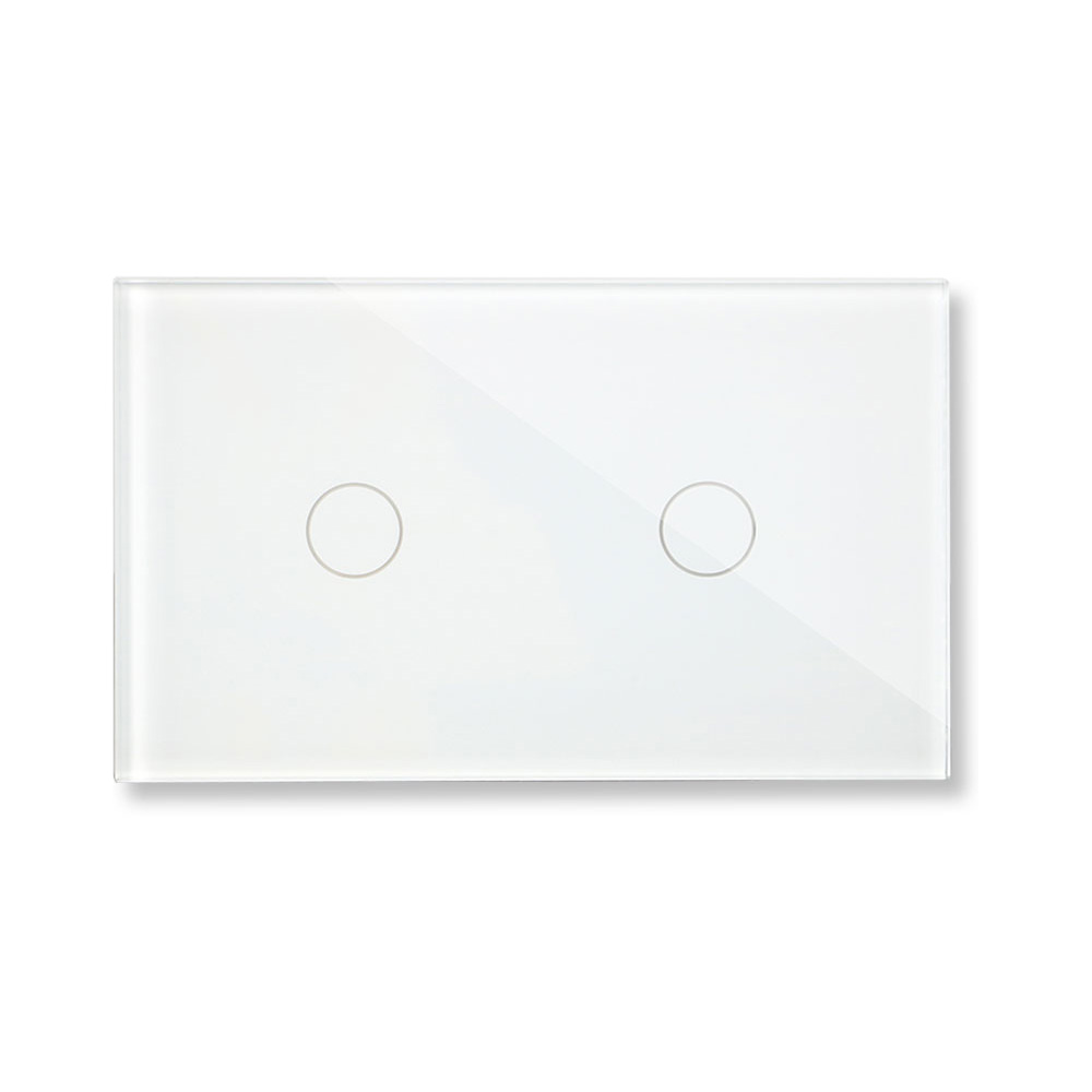 Bingoelec US/AU Standard Dimmer Light Switch Crystal Glass Panel Touch Sensor 2 Gang 1 Way Touch Wall Switch AC 110-240 VBingoelec US/AU Standard Dimmer Light Switch Crystal Glass Panel Touch Sensor 2 Gang 1 Way Touch Wall Switch AC 110-240 V