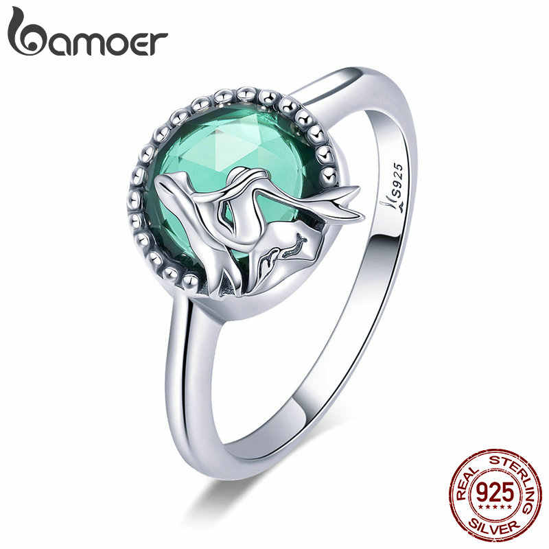 BAMOER New Trendy 100% 925 Sterling Silver Romantic Story Legend Green CZ Finger Ring Women Sterling Silver Jewelry Gift SCR361
