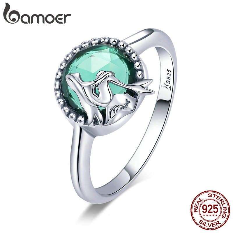 BAMOER New Trendy 100% 925 Sterling Silver Romantic Story Legend Green CZ Finger Ring Women Sterling Silver Jewelry Gift SCR361 ice age prehistoric animal a mammoth in a walk collection children toys a mammoth in a walk