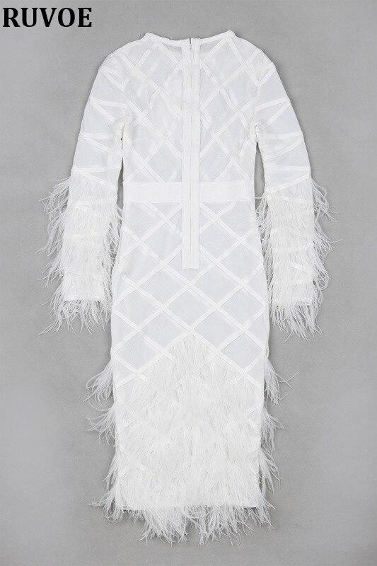 Новая мода, высокое качество, зима 2019, женское белое платье, длинный рукав, перья, круглый ворот, Бандажное платье, вечернее платье - 6