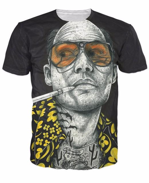 Entintado miedo y repugnancia camiseta tatuada Johnny Depp Raoul duque miedo y repugnancia 3d impresión de la camiseta mujeres Men trajes Tops
