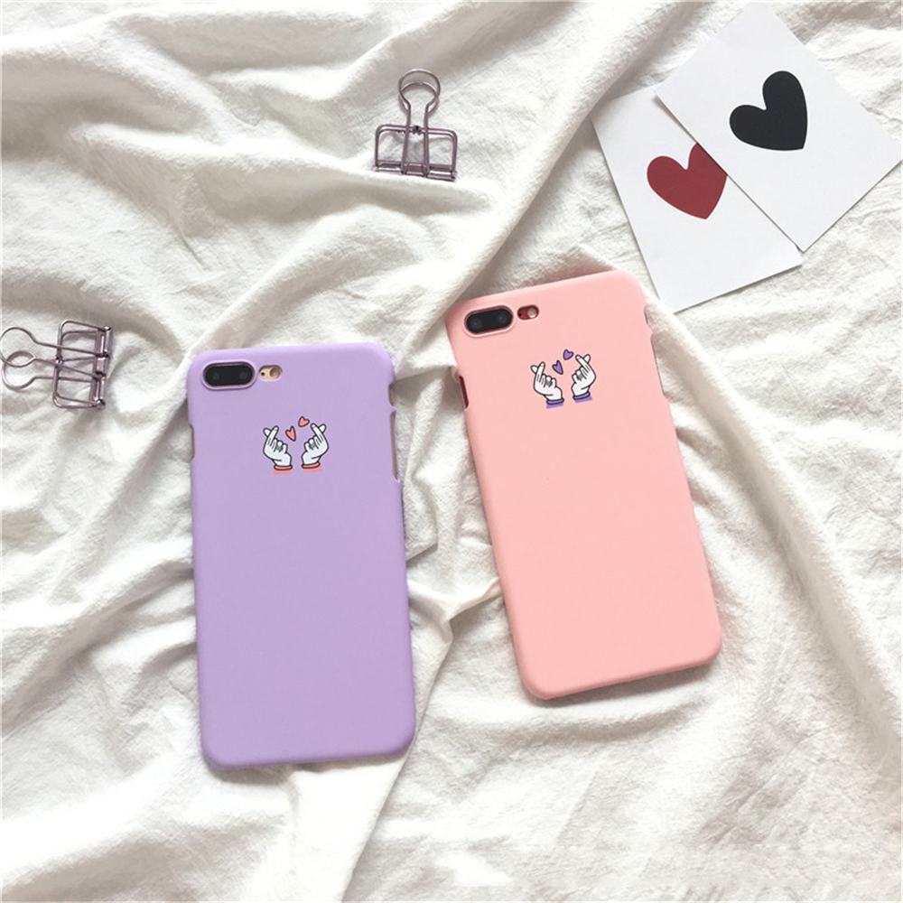Candy Color 5 5S SE Love Heart Gesture Finger Pattern Matte Hard PC Cover For Iphone 6 6S 7 8 Plus X 10 Coque