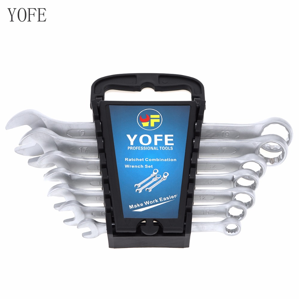 YOFE 7pcs 8-19mm Professional Ratchet Wrench Tool Combination Spanner Set Gear Ring Wrench for Installation / Maintenance 5pcs steel ratchet spanner combination wrench keys skate tool gear ring wrench ratchet set 10 12 13 17 19mm clh