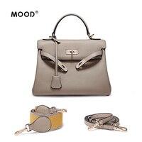 MOOD luxury handbags women bags designer Genuine Leather bag litchi grain Fashion joker wide shoulder straps practical bag