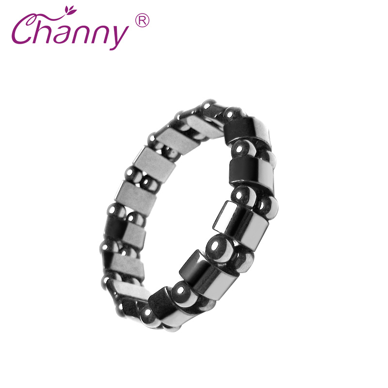 Channy Weight Loss Round Black Stone Magnetic Therapy Bracelet Health Care Magnetic Hematite Stretch Ring For Men Women charming rhinestoned round bracelet with ring for women