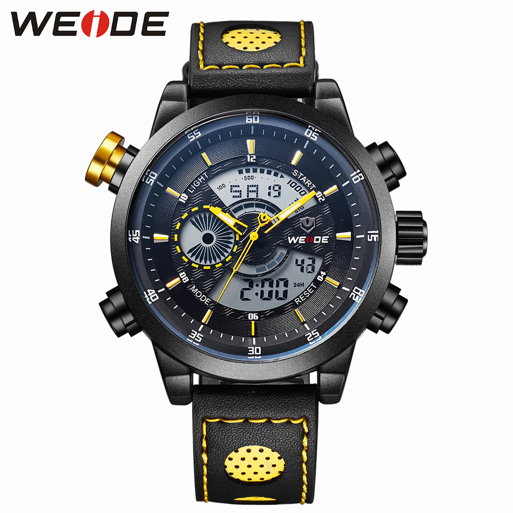 WEIDE Luxyry Brand Free Shipping Fashion Sport Watch For Men Dual Movement 3ATM Water Resistant Yellow Color Leather Strap 3401B  free shipping 3 3 1 2m water banana boat for sport games