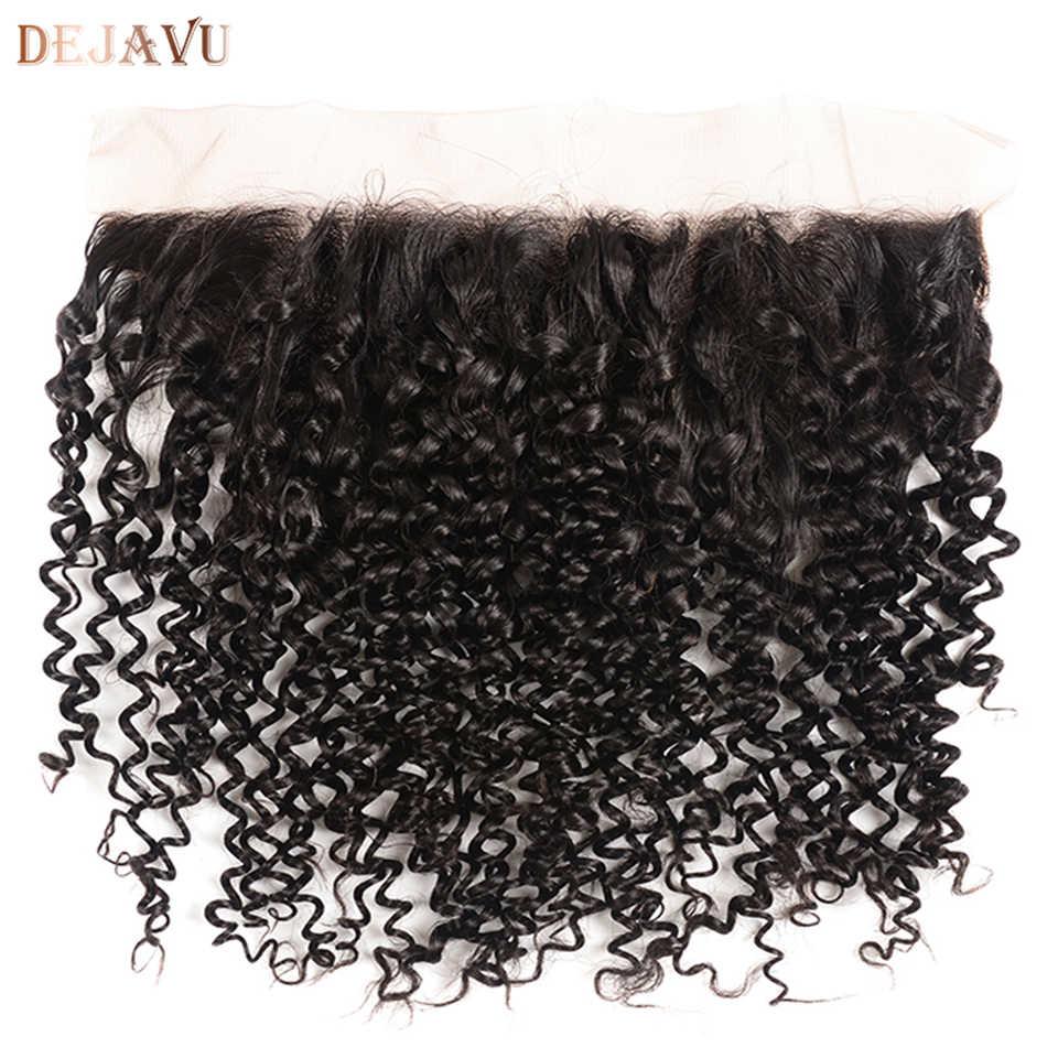 """100% pelo Remy brasileño rizado cabello humano encaje cierre Frontal 13*4 Color Natural 8 """"-20"""" envío gratis cabello Dejavu"""