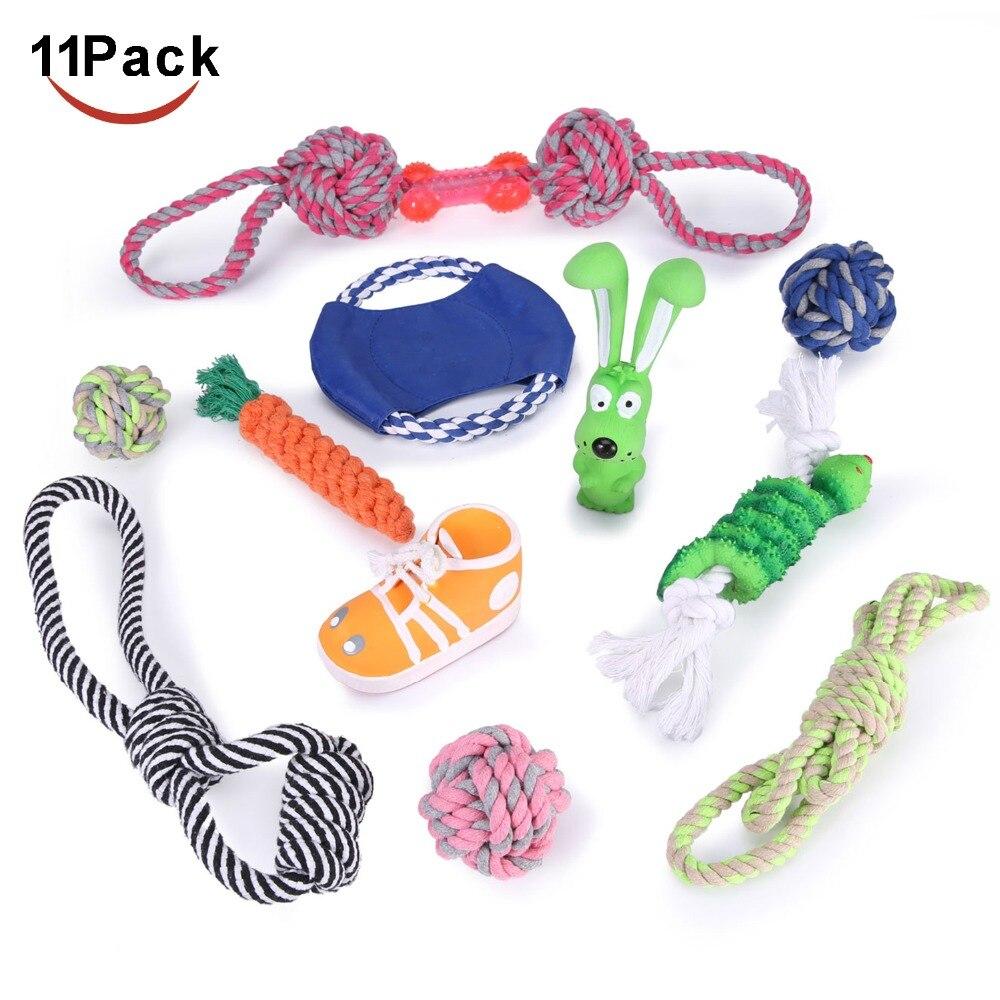 Ensemble de jouets pour chiens interactifs assortiment de bacs 11 pièces jouets à mâcher, disques volants, jouets en peluche, balles de cordes, jouets de grincement chiots chiens