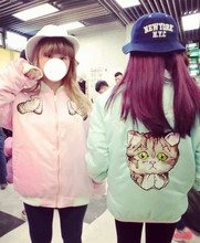 2016 HARAJUKU embroidery weeping cat pullover baseball coat wadded outerwear poor cat catoon pink blue black women Japan Jackets