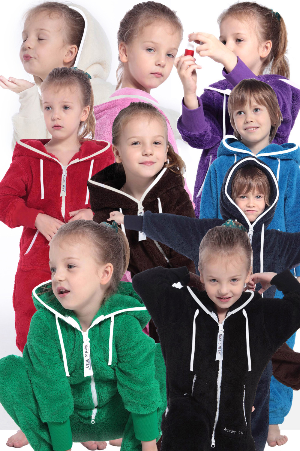 Nordic Way Kids Romper Teddy Fleece One Piece Jumpsuit Comfy Brushed Hoody All In One Playsuit