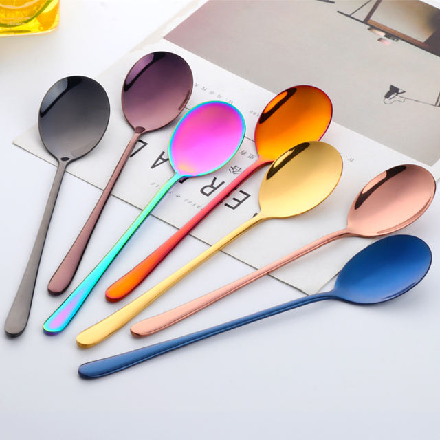 1 Piece Stainless Steel Colorful Korean Dessert Spoon