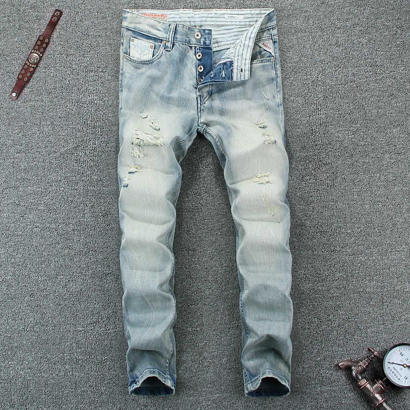 Verano estilo azul claro Color Moda hombre Jeans alta calidad Slim Fit rasgado Jeans para hombres botones pantalones marca Biker vaqueros para hombres