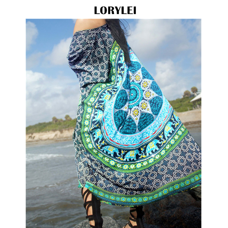 Green Bohemian Printed Women Plus Size Summer Beach Wear Kimono Cardigan Swim Suit Cover Up Pareo Plage Sarong Bikini Wrap N650