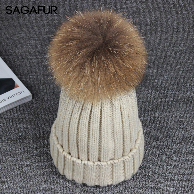 Raccoon Fur Pompom Hat Women's Winter Knitted Hat Female Warm Outdoor Bonnet Hat For Ladies Fashion Elegant Solid Color Beanies