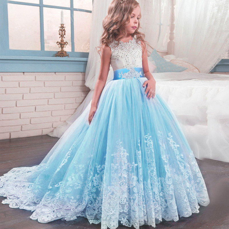 Bow Tutu Long Girl Dress Teenagers 4-14 Years Prom Gowns Dress Party Dresses Girl Evening Princess Flower Girl Dresses LP-231
