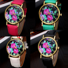 Vogue Women's Leather Rose Floral Printed Analog Quartz Wrist Watch  Free Shipping #250717