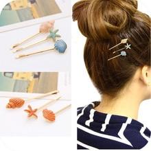 Ocean Style Sweet Candy Color Hairpins Women Cute Vivid Seashell Conch Starfish Shape Girls Hair Clip Casual Side Bangs vivid hair 9 grade180%