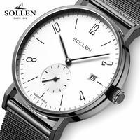 SOLLEN Brand 2017 Men's Business Casual Watches For Men Ultra Slim Dial Quartz Wrist Watch JAPAN Movement High quality watches
