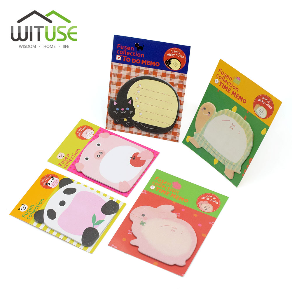 WITUSE 1/4/8Pcs Cute Memo Pad Paper Sticky Notes Animal Shape Notepad Bookmark Flag Stationery Gift Wall Home Office Supplies