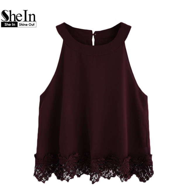 SheIn Summer Style Women Tops Fashion Camisoles For Woman Plain Burgundy Crochet Trim Hollow Chiffon Halter Neck Top
