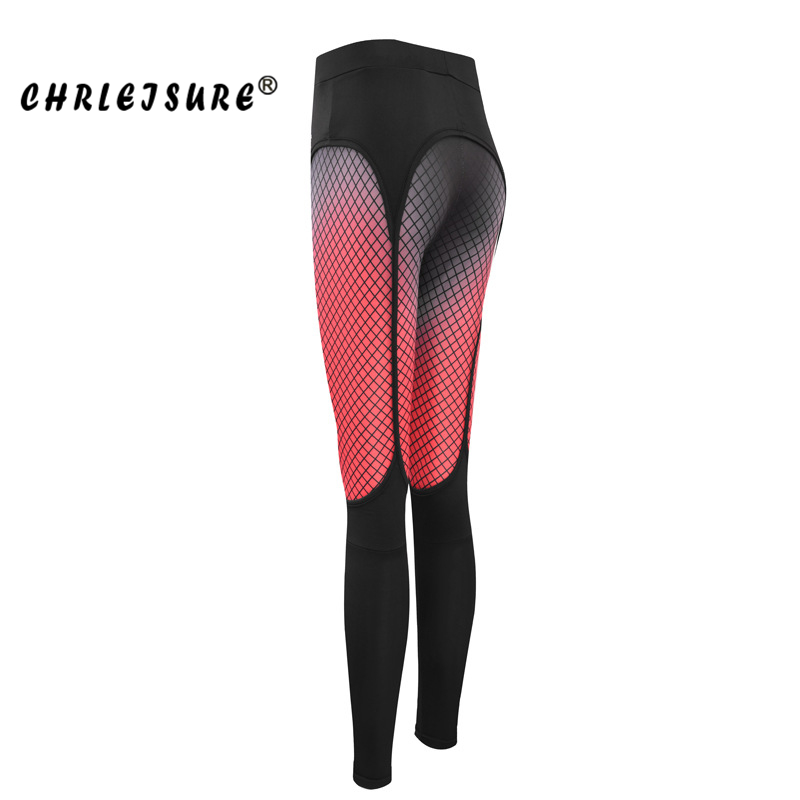CHRLEISURE Print Fitness Leggings Women Cotton Spring High Waist Trousers Mesh work out soft and breathable Slim Female Jegging