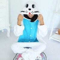 New Unisex Adult White Seals Pajamas Sleepwear Seal Dog Pyjamas Onesies Cartoon Sleepsuit Animal Cosplay Costume