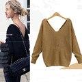 Европейский v-образным вырезом спинки женская мода свитер famele свитера осень пуловер свитер зимний хлопок женские пуловеры весна