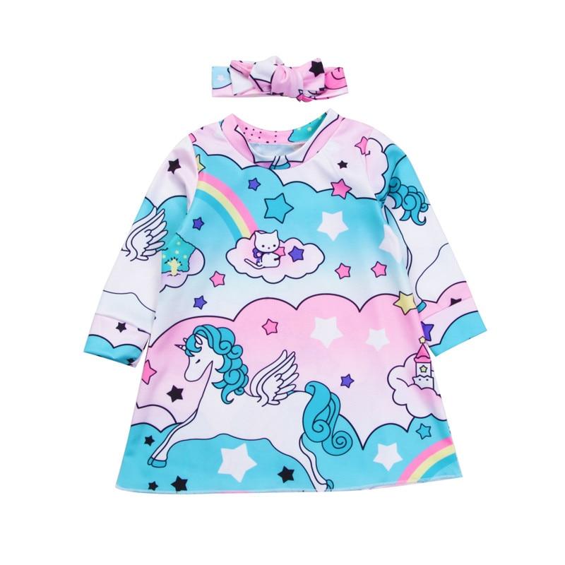 Infant Newborn Baby Girls Unicorn Dress Headwear 2PCS 2018