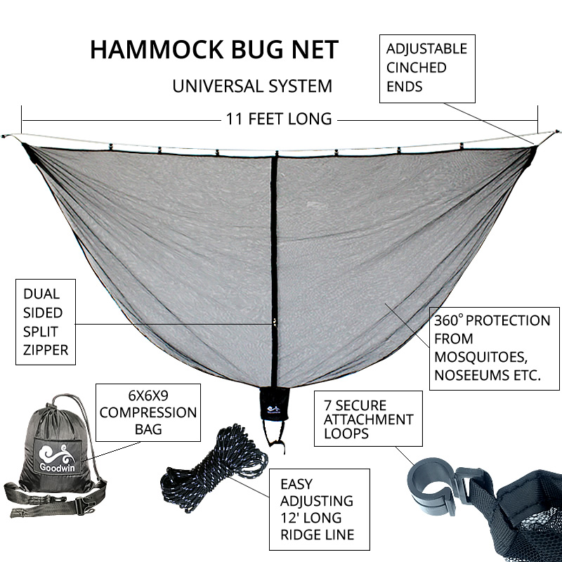Mosquito Bug Net For Hammock Parachute Fabric Portable Ultralight With Folding Bag Indoor Outdoor Camping Gear