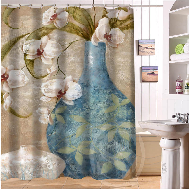 Beautiful flowers Personalized Custom Shower Curtain Bath Curtain Waterproof Polyester Fabric Shower Curtain MORE SIZE SQ0527-14