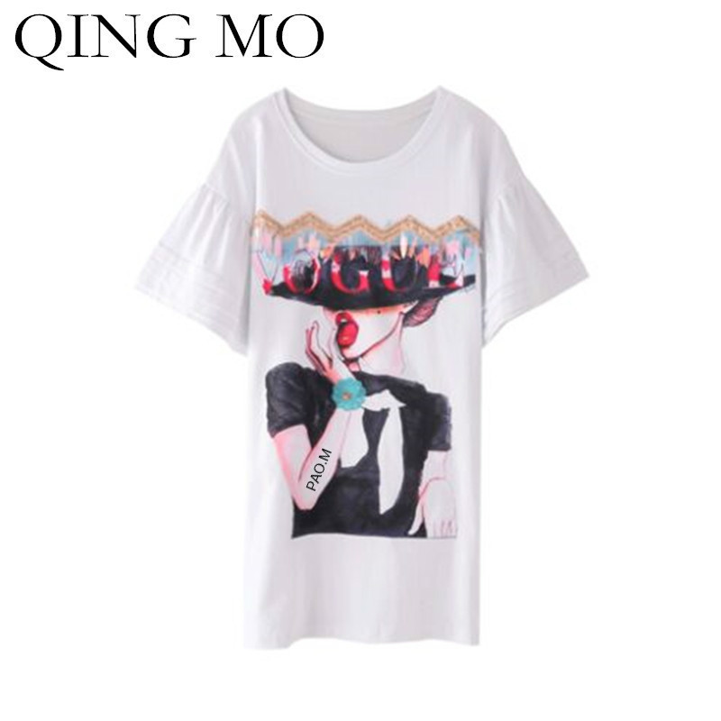 QING MO 2018 Summer Women Dress Flare Sleeve Character Pattern Print T Shirt Dress With Sequin Black White Female Dress ADQ215