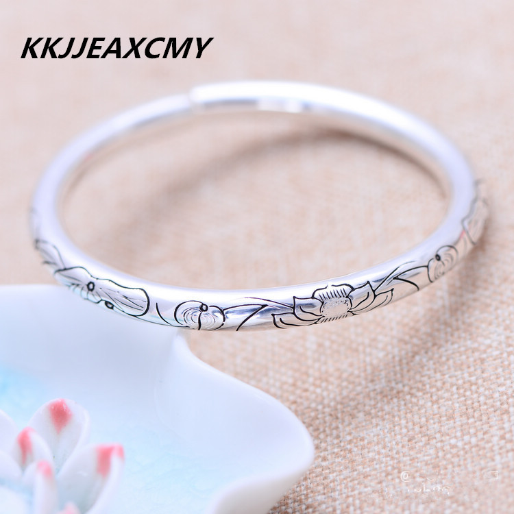KJJEAXCMY 999.9 sterling silver jewelry lotus lotus leaf female split Bracelet цена и фото