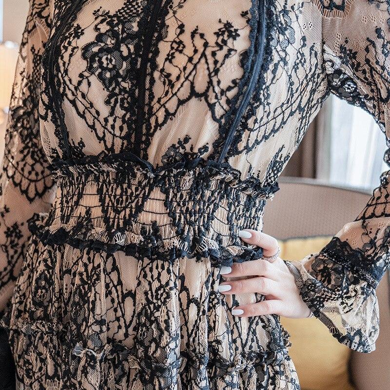 Robe Robes Soirée Été Mode mollet Mi Femmes Partie De Dentelle 2019 Longues  Longueur Collier Printemps ... 25f75ffede8