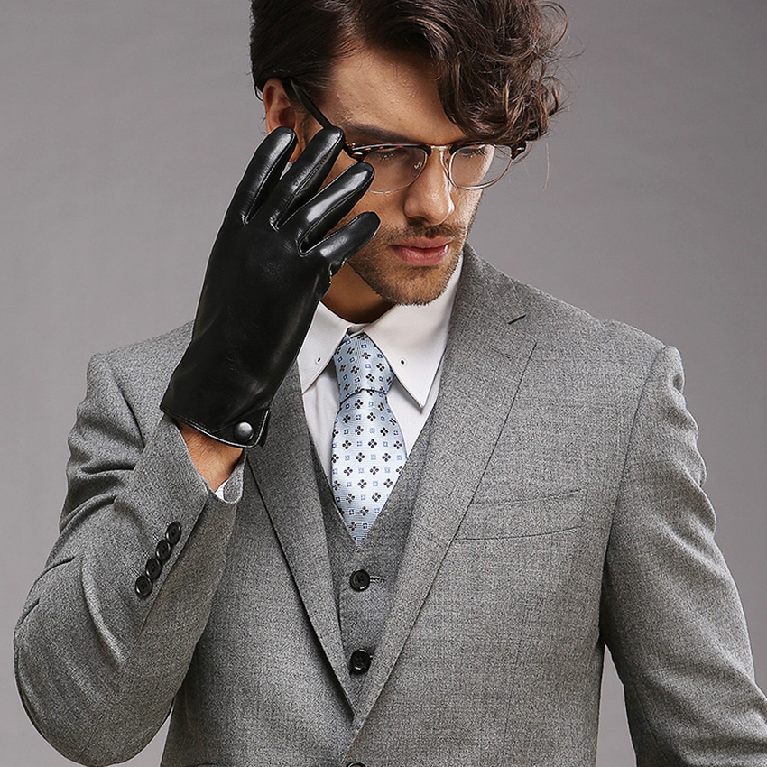 Men Classic Black TouchScreen Leather Gloves Warm Fashion Winter Genuine Goatskin Driving Glove Five Finger M001NC2 in Men 39 s Gloves from Apparel Accessories