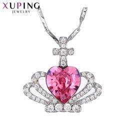 Biżuteria Xuping moda w kształcie korony kolorowe kryształy naszyjnik dla kobiet prezent 43152