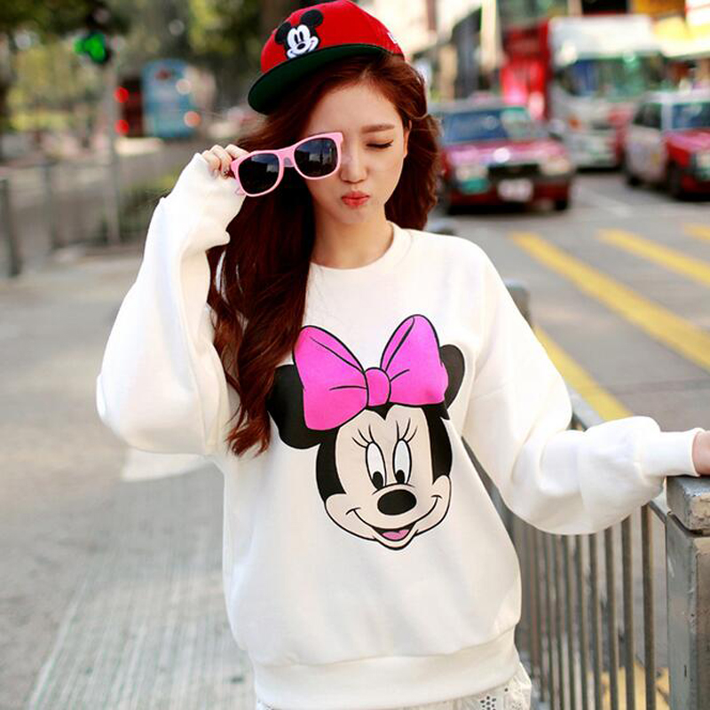 Cute Mickey Print Women Hoodie Thin Fashion Long Sleeve O Neck Cotton Ladies Sweatshirt Casual Loose Womens Hoodies Pullover