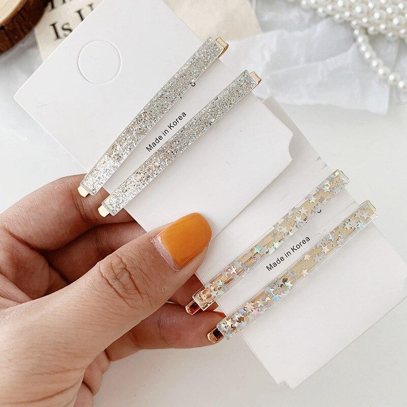1 Pair Fashion Girls Acrylic Hair Clips Barrette Stick Hairpin Hair Accessories
