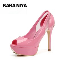 4 34 Small Size 2017 High Heels Thin Ultra 12cm 5 Inch Patent Leather Platform  Pink Pumps Shoes Modern Prom Peep Toe Pumps Funky 78e7f2a4c9c1