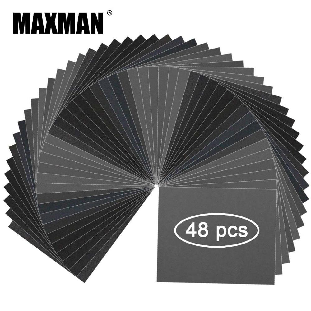 MAXMAN 48Pcs Sandpaper Professional Automobile Polishing Abrasives Dry/Wet Waterproof Paper Silicon Carbide&Kraft Paper Material