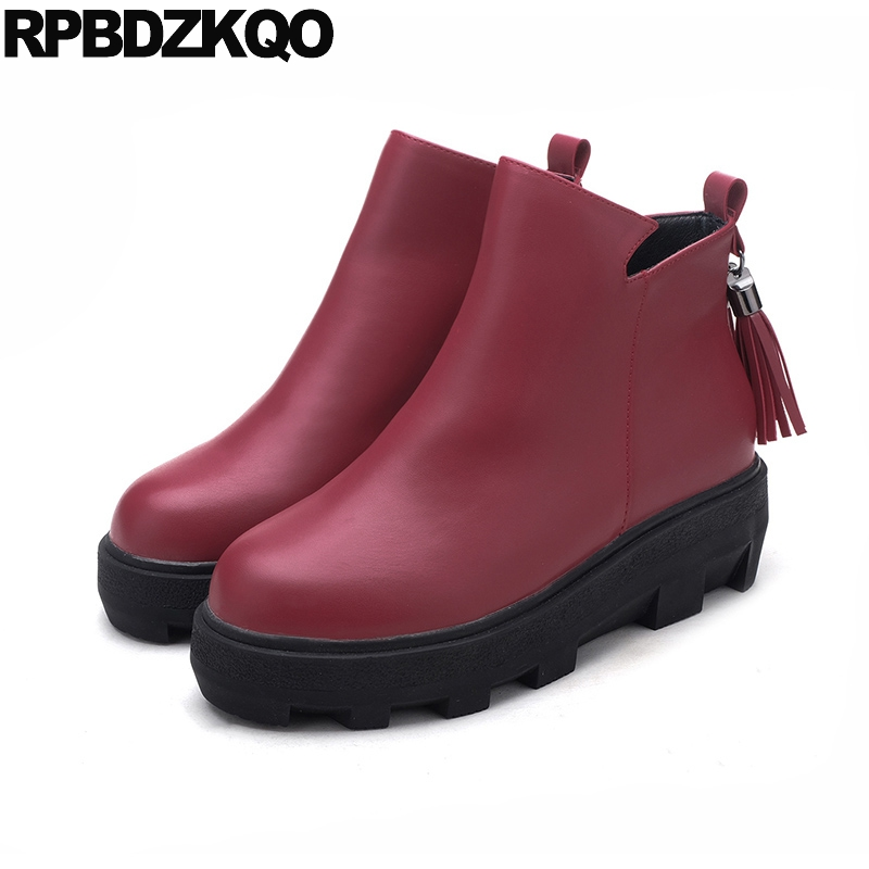 Fur Platform Wine Red Side Zip Boots Creepers Ankle Shoes Fringe Harajuku Round Toe Muffin Booties Flat Female Ladies New 2017 booties warm shoes winter round toe side zip boots brown real fur flat casual ankle female new ladies 2017 chinese fashion short