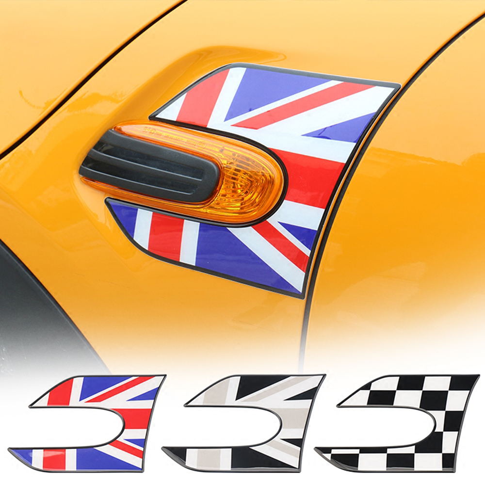 2Pcs Car Side Plate Wing Fender 3D Crystal Epoxy Stickers Decal For MINI COOPER JCW S F55 F56 Hatchback Car Styling Accessories