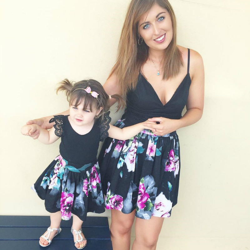 Floral Mom Daughter Summer time Ladies Costume Household Matching Outfits Vogue Household Garments Mother Children Matching Costume Child Ladies Costume household matching, household matching outfits, matching outfits,Low cost household...